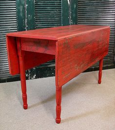 Antique Primitive Red Painted Farm Drop Leaf Table