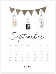 September Mason Jar Calendar - Mason Jar Crafts Love