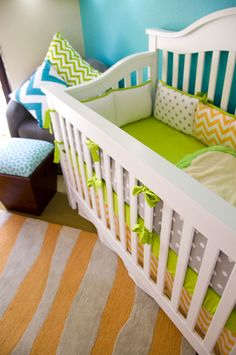 baby boy nursery...teal, orange, green, yellow, white, brown, grey - love all the brights!