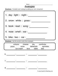 Analogies Worksheet 2 | Worksheets, Teaching vocabulary and School