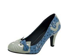 Blue-Bow Kitty Anti Pop Heels - T.U.K. Shoes | T.U.K. Shoes