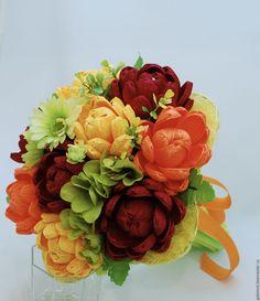 """Купить Букет из конфет """"Хризантемы"""" - оранжевый, букет из конфет, габимот, москва, день учителя"""