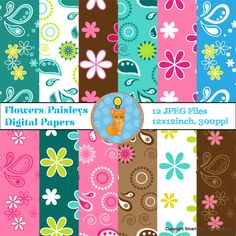 Digital Papers Spring Flowers and Paisley by Smart as a Fox Designs 12 digital papers (JPEG files) Theme: Digital Papers Spring Flowers and Paisleys 12 x 12 inches. 300 PPI High Resolution  ♥ All images are saved as JPEG files to fit well on any personal, educational, or commercial creation. Please remember to link back to our shop if you choose to use these digital papers commercially!
