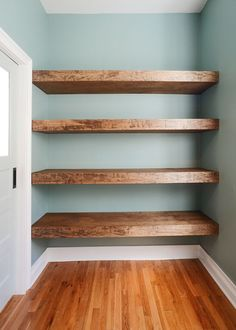 DIY Floating Wood Shelves! Exactly what I'm wanting at the end of our bedroom hallway