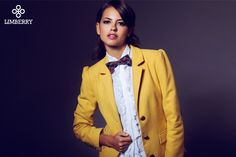 LIMBERRY yellow preppy Blazer with pouff sleeves and tie