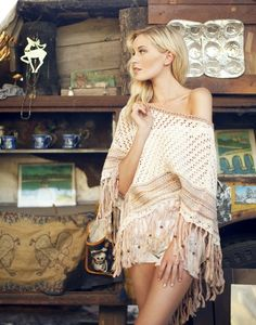 Boho chic shawl, modern hippie fashion, gypsy look. For the BEST Bohemian trends FOLLOW >>> http://www.pinterest.com/happygolicky/the-best-boho-chic-fashion-bohemian-jewelry-gypsy-/
