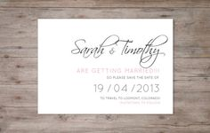 Wedding Save the date Calligraphy theme by PigeonPieDesign on Etsy, $10.00