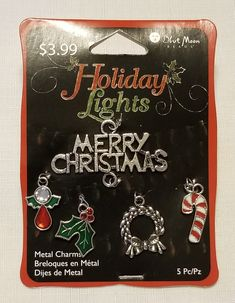 E-226: A Variety of Five Colorful Antiques Silver Christmas Charms Accented with Green, White, and Red Enamel and Faceted Glass Silver Christmas, Merry Christmas, Upcycled Crafts, Faceted Glass, White Enamel, Craft Items, Silver Charms, Candy Cane, Holiday Crafts