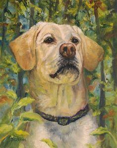 Trail-Happy Yellow Lab Oil Painting Labrador Retriever Dog Art Pet Portrait Woods, painting by artist Debra Sisson