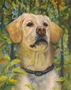 Trail-Happy+Yellow+Lab+Oil+Painting+Labrador+Retriever+Dog+Art+Pet+Portrait+Woods,+painting+by+artist+Debra+Sisson