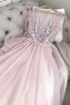 Outlet Fetching V Neck Prom Dresses Pink V Neck Tulle Long Prom Dress, Pink Tulle Evening Dress Evening Dresses With Sleeves, V Neck Prom Dresses, Pink Prom Dresses, Pretty Dresses, Beautiful Dresses, Formal Dresses, Dress Prom, Club Dresses, Wedding Dress Pink