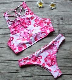 Print Swimwear Strappy Swimsuit Women Bikini Sexy High Neck Bikinis Se – Stylish n Trendier