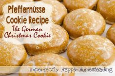 Pfeffernüsse Cookie Recipe - the German Spice Christmas cookie. Perfect with a warm mug of tea or coffee as well as a cold glass of milk. Holiday Snacks, Köstliche Desserts, Delicious Desserts, Dessert Recipes, German Desserts, German Christmas Cookies, German Cookies, Christmas Baking, Christmas Treats
