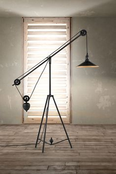 The Jasper Floor Lamp from Zuo Modern is the perfect touch of minimal industry. Using a synchronized pulley system, this floor lamp can be adjusted to the perfect height for any space. Industrial Style Lamps, Industrial Flooring, Industrial Living, Industrial Interiors, Vintage Industrial, Industrial Office, Industrial Design, Industrial Wallpaper, Industrial Stairs