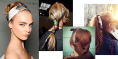 1 foulard, 4 coiffures !!! Il convient aux cheveux longs, courts ou mi-longs ... avec un chignon, version headband, en queue-de-cheval, en torsade ...