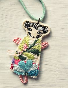 Little girl necklace for children by LedannaPatchwork on Etsy