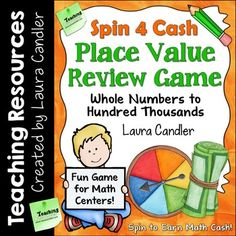 "In the Place Value Spinner Games pack you'll find a set of two games for reviewing place value. Spin 4 Cash uses play money (patterns included) as ""math cash"" and Spin 2 Win uses game tokens which could be plastic chips or dried beans. Both games include complete directions and printables, and the game materials are available in both black and white and color."