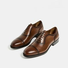 Image 6 of BROGUED LEATHER OXFORD SHOES from Zara