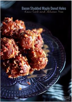 Bacon studded maple donut holes! A low carb and gluten free maple donut hole recipe that is coated with caramel and chopped bacon. The perfect combination of salty and sweet! Crunchy on the outside, cakey on the inside, these donut holes use caramel as a delicious glue for the bacon! Gluten free, keto, lchf, low carb.