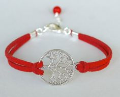 Silver TREE of Life Bracelet  RED Faux Suede Leather by BeMyCharm, $5.99