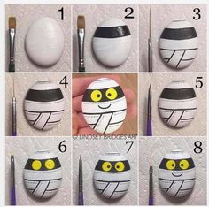 Mummy painted rock step by step how-to by Lindsey Bridges. Perfect Halloween des… Mummy painted rock step by step how-to by Lindsey Bridges. Halloween Rocks, Halloween Crafts For Kids, Halloween Diy, Halloween Skirt, Stone Crafts, Rock Crafts, Fall Crafts, Pebble Painting, Pebble Art