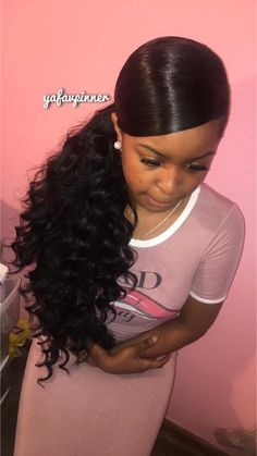 Weave Ponytail with Bangs Hairstyles 142860 Beautiful Full Sew In Hairstyles with Bangs – New Self Sufficient - Hairstyle ideas Weave Ponytail Hairstyles, Mohawk Hairstyles, My Hairstyle, Hairstyles 2018, American Hairstyles, Curly Ponytail Weave, Hairstyle Ideas, Hair Ponytail, Wavy Weave