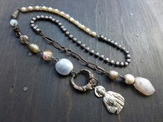 The Mystery. Rustic grey lariat necklace with religious medal. by fancifuldevices