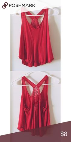 Chloe K crop tank top Red tank with cute embroidery on the back. Size medium but runs small almost like a crop top Chloe K Tops Tank Tops