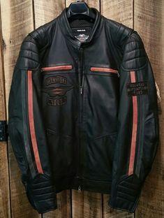 fd422b37 Harley Davidson Motorcycles Riding Gear Black Leather Zip Jacket Coat Men's  2XL #HarleyDavidson