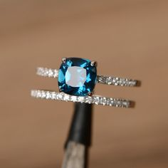 engagement ring London blue topaz ring stacking ring by godjewelry                                                                                                                                                                                 More
