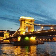 Chain Bridge in Budapest, Hungary Budapest Hungary, Tower Bridge, Lights, Chain, Amazing, Travel, Instagram, Viajes, Trips