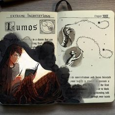 harry potter, lumos, and book image