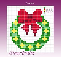 Christmas wreath ornament perler bead pattern by aux 4 mains