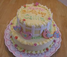 birdies - all decorations made of gumpaste #cake #birthday #girl #pigeon #yellow #girly #roses