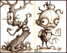 Sketchbook Series of quick concepts made with Sepia Pens on cm - Creepy Drawings, Creepy Art, Art Drawings, Monster Drawing, Monster Art, Character Illustration, Illustration Art, Steampunk Drawing, Shetland
