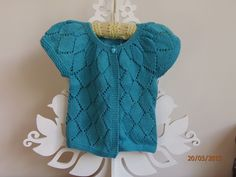 Hand Knit Baby Wool Lacy Cardigan, Cap Sleeve, fit abt 9mths; Turquoise - by MadeForLittleOnes on madeit