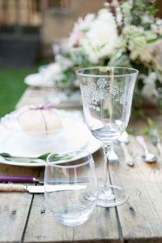delicate floral glassware wedding