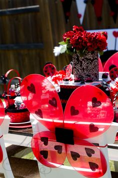 Ladybug Party - Cute Wings! Adorable idea for decorating chairs.