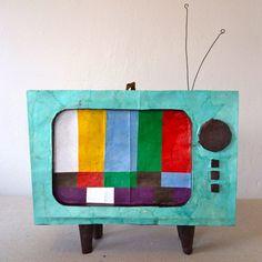 Vintage TV Piñata teal with test screen party von yeahyoudidshop, $68.00