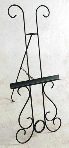 "Satin Black New Orleans Wrought Iron Picture Easel (Satin Black) (54""H x 24""W x 32""D)"