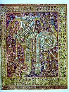 """'Frontispice du Livre de la Genèse, Bible de Saint-Paul-hors-les-Murs, vers 870, contenant les premiers mots """"In principio"""".'"""