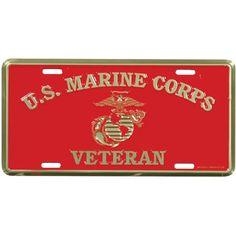U.S. Marine Corps Veteran 6 X 12 Metal License Plate