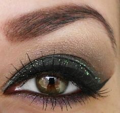 Brown eyes makeup look with green glitters