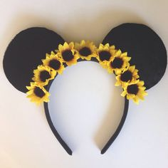 Sunflower Minnie Ears Flower Crown Mickey Ears Floral Mouse Ears