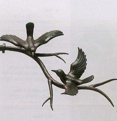 Bird on Branch Finial Pair