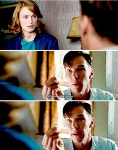 """""""The Imitation Game"""" - this definitely qualifies as one of the oddest proposals in history! Benedict Sherlock, Benedict Cumberbatch, Watson Sherlock, Sherlock Bbc, Movies 2014, Good Movies, Immitation Game, The Imitation Game, Alan Turing"""