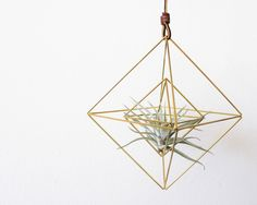 Himmeli fig. 9 - Double Diamonds | Brass, Modern Minimalist Geometric Hanging Ornament, Mobile, and Air Plant Holder door handmadesammade op Etsy https://www.etsy.com/nl/listing/197965584/himmeli-fig-9-double-diamonds-brass