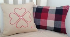 Love heart homemade embroidery cushion by LMDSimplyBe on Etsy, £24.50