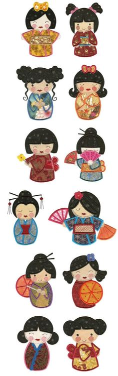 Embroidery | Machine Embroidery Designs | Kokeshi Dolls Applique by Gloria Roch