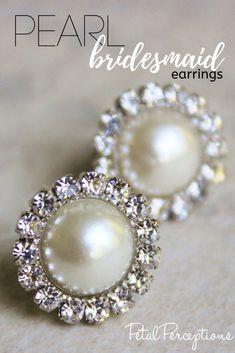 Bridal Wedding Jewelry Beautiful pearl earrings for your bridesmaids! Bride Earrings, Bridesmaid Earrings, Bridesmaid Gifts, Pearl Earrings, Drop Earrings, Bridesmaids, Wedding Favours, Wedding Gifts, Handmade Shop